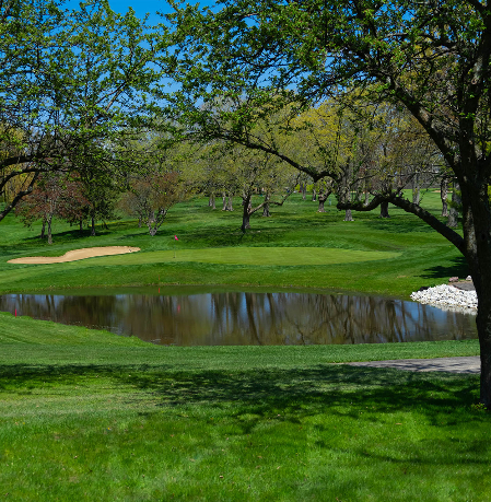 A pond on the course at Meadowbrook Country Club